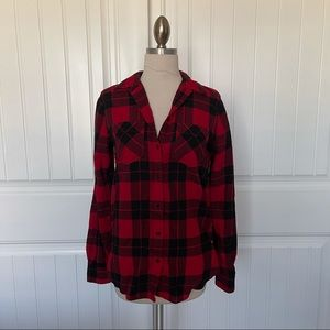 Express Red & Black Plaid Flannel Button Up